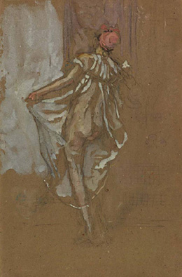 James McNeill Whistler - A dancing woman in a pink robe, seen from the back, 1888/1890