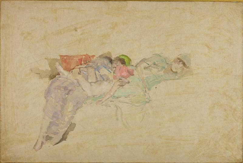 Two Pettigrew sisters asleep with a baby 1890/5
